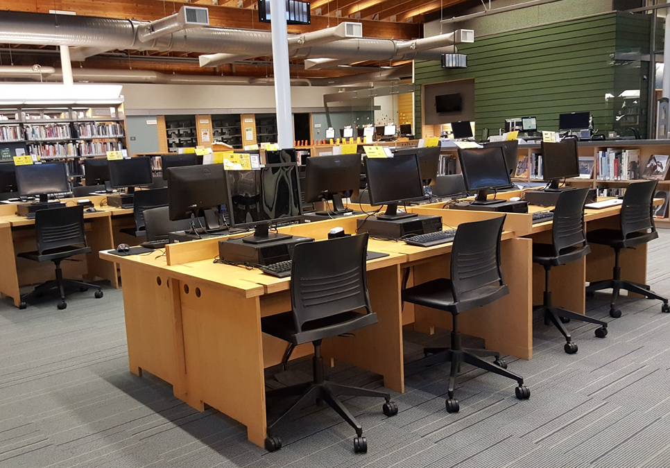 Public computer area at the Ballard Branch