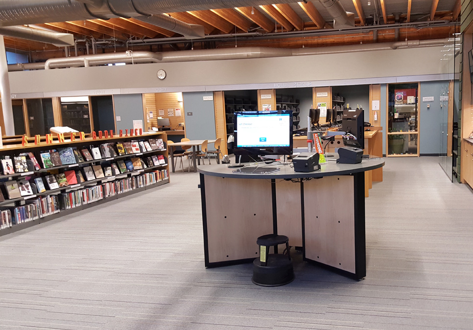Self-checkout station at the Ballard Branch