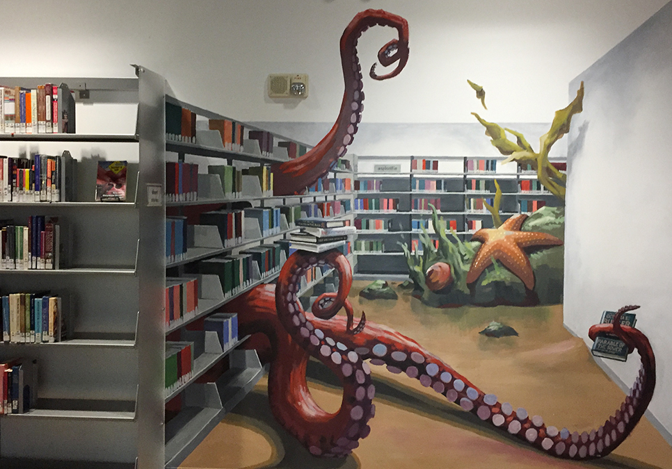Mural created by Urban Artworks artist Will Schlough on Level 3 at the Central Library