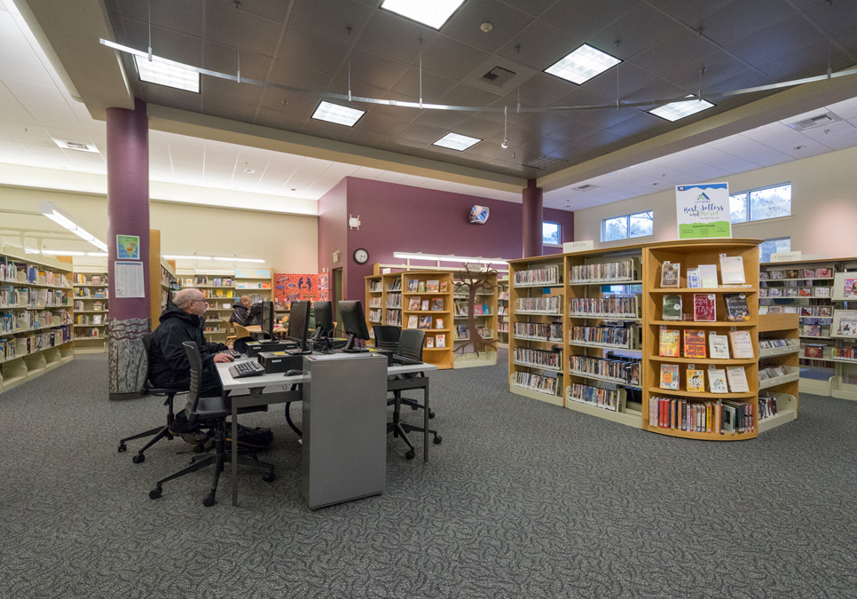 Library patron using public computer at the Delridge Branch