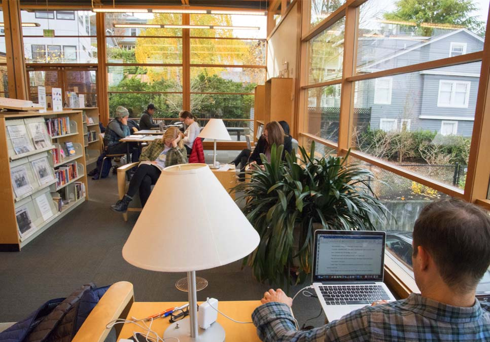 Library patrons in seating area at the Montlake Branch