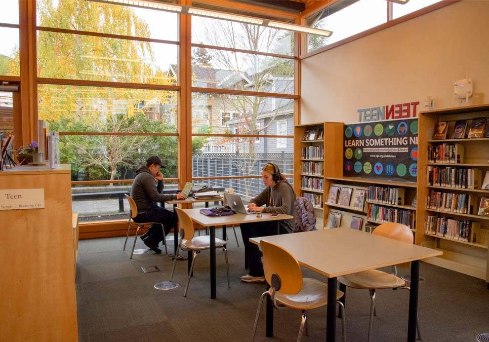 Library patrons in teen area at the Montlake Branch