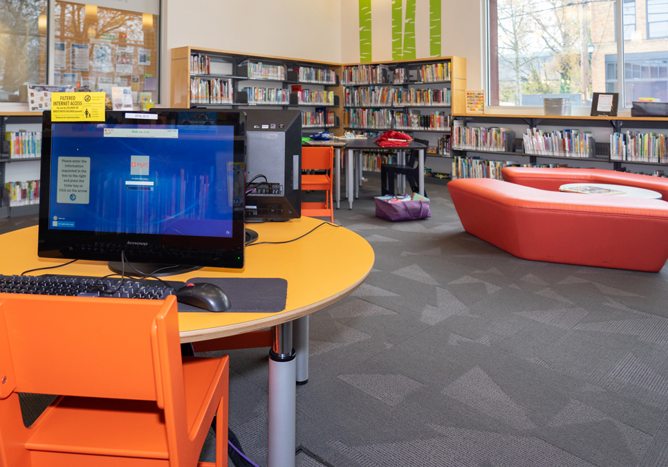 Children's computer area at the South Park Branch