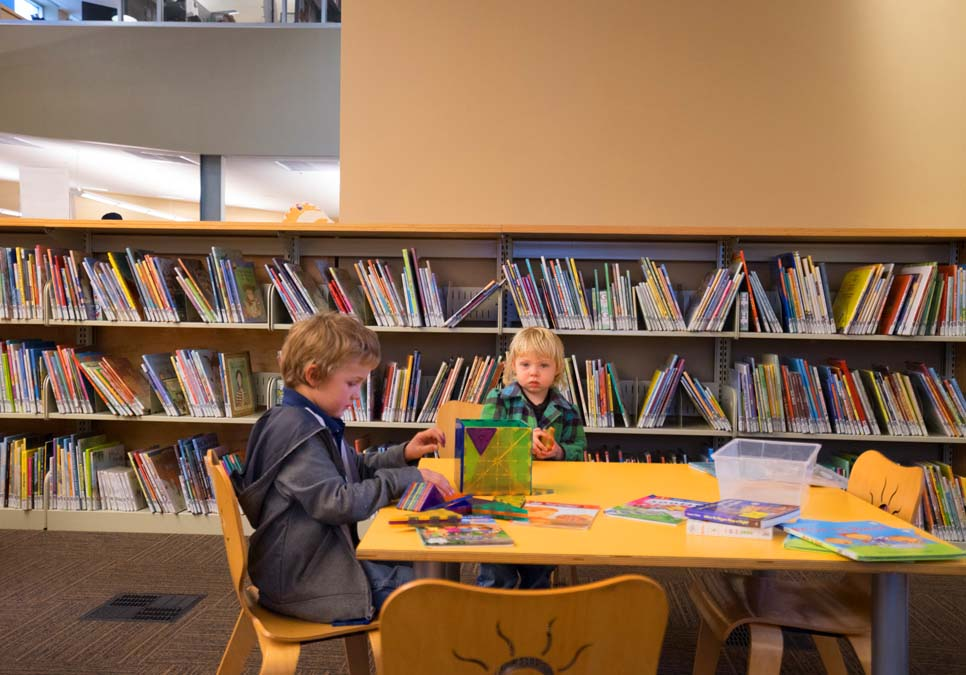 Children playing in the children's area at the Southwest Branch