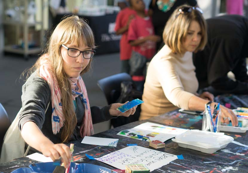 Patrons participating in Art on the Plaza