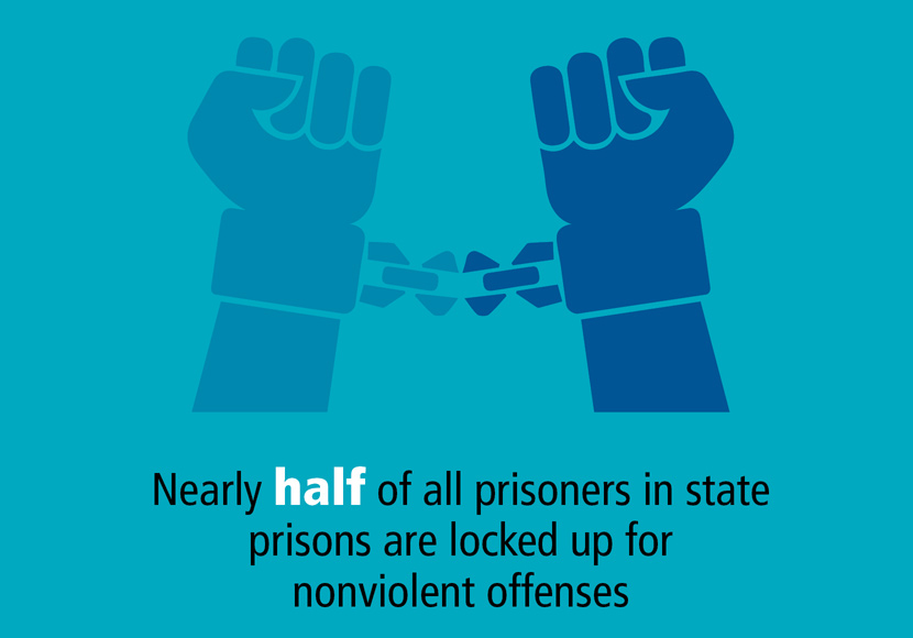 nearly half of all prisoners are locked up for nonviolent offenses