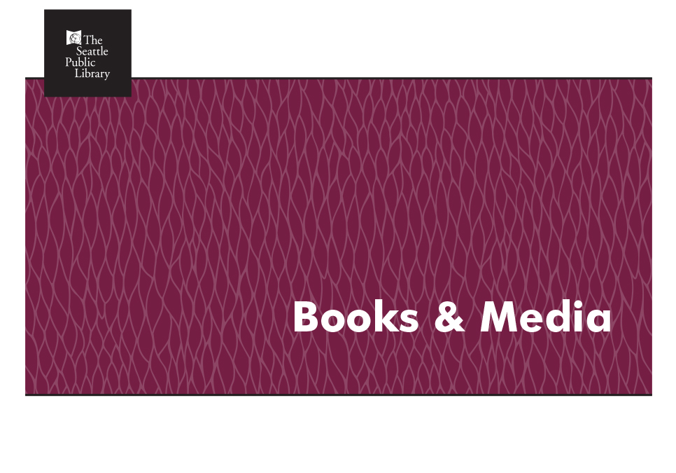 "burgundy screen with the words ""Books & Media"""