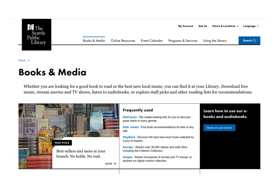 screen shot of the books and media page on spl.org