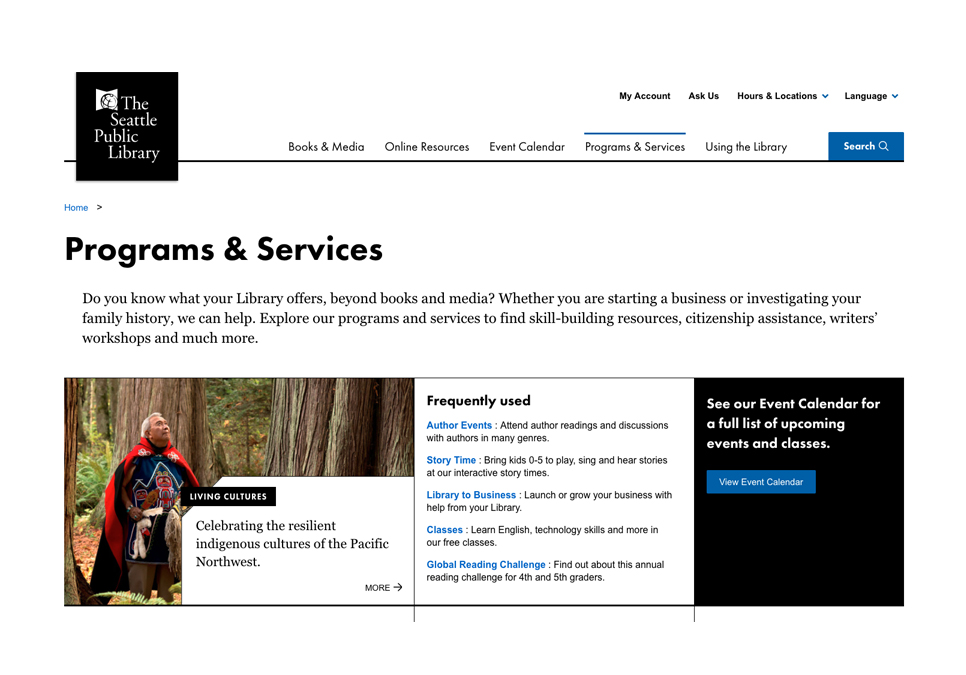screen shot of the programs and services page on spl.org